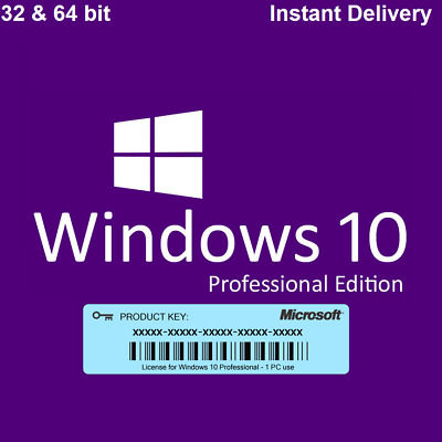 Windows 10 Professional Key 32/64 Bit MS Win 10 Pro Code ESD Lizenz Vollversion