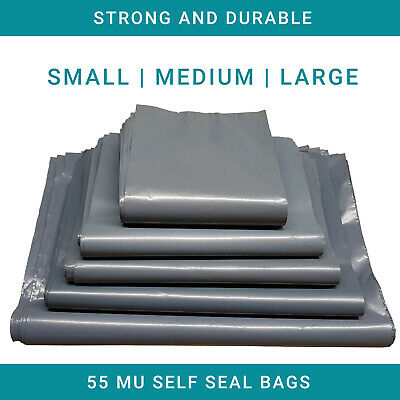 Extra Strong Grey Mailing Poly Bags Seal Post Parcel Packing Small Medium Large