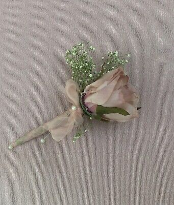 Wedding Flowers Buttonhole Corsage Groom Mother Of Bride Vintage Pink Dried Gyp