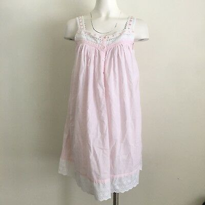 9f5549154a Eileen West Womens S Small Cotton Nightgown Pink Pjs Lace Shift Ribbon  Pajama