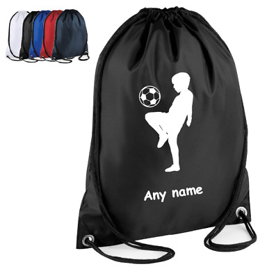 Personalised FOOTBALL Drawstring Bag Wash Bag Ball School PE Kit Sport Gym Boys
