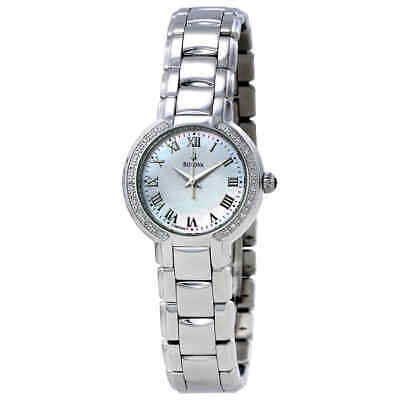 Bulova Classic Mother of Pearl Dial Diamond Stainless Steel Ladies Watch 96R159