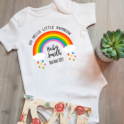 Personalised Rainbow Baby Vest Pregnancy Announcement Grow