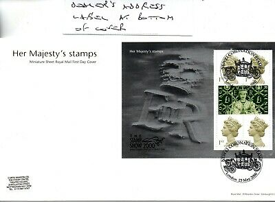 GB - FIRST DAY COVER - FDC - MINI SHEET - 2000 - Her Majesty Stamps - Pmk London