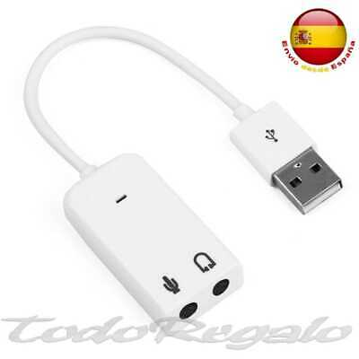 Tarjeta de Sonido Externa USB 3D Sound 7.1 Audio para Laptop Virtual DJ Blanco
