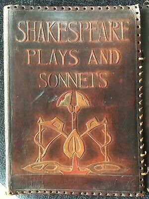 1900s Hand Made Arts & Crafts Leather Book Cover Shakespeare Plays & Sonnets