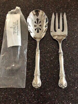NEW Towle OLD MASTER Sterling Silver SET OF SERVING FORK &  Pierced SPOON 21910