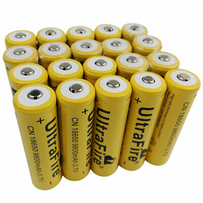 20 X 18650 Li-ion Batteries 3.7V 9800mAh Rechargeable Battery for LED Flashlight