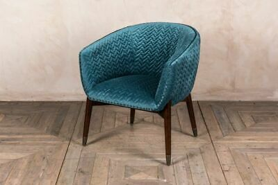 Blue Teal Velvet Tub Chair Quilted Armchair Upholstered Seat