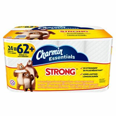 Charmin Essentials Strong White 1-Ply Bathroom Tissue, Pack Of 24 Rolls