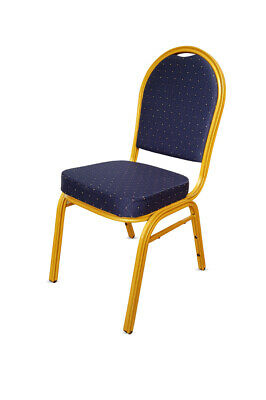 Blue Metal Banqueting Chairs. Round Back. Stacking Steel Catering Church Marquee