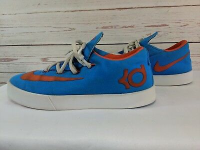 a48e44c2ae82 Youth Size 6Y Nike KD Canvas Shoes Photo Blue Orange LowTop Sneakers 642085 -400
