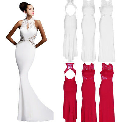 Womens Gown Wedding Bodycon Long Dress Lace Bridal Backless Party Formal Evening