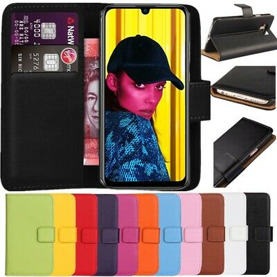 Premium Leather Flip Wallet Case Cover For Smart Phone Huawei P Smart 2019