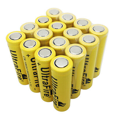 16X Flat Top 18650 Li-ion Battery 9800mAh 3.7V Rechargeable for Flashlight Torch