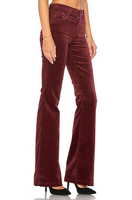 NWT J Brand Maria High Rise in Oxblood Stretch Velvet Flare Pants 25 x 34 ½ $228