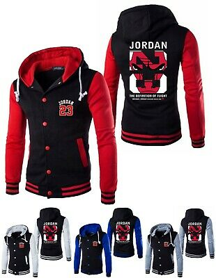 1bc109db610b NEW Michael Jordan 23 Baseball Jacket Chicago Bulls Mens Hooded Coat Men  Hoodie