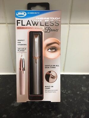 JML FINISHING TOUCH FLAWLESS BROWS Painless Eyebrow Shaper 18k Gold Plated - NEW