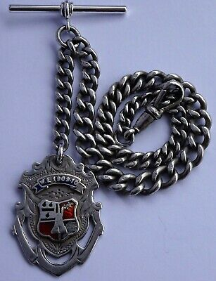 Lovely antique solid sterling silver albert pocket watch chain & silver fob