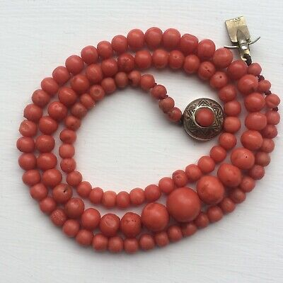 Antique Deep Red Natural Coral Necklace With Coral Cabochon Clasp