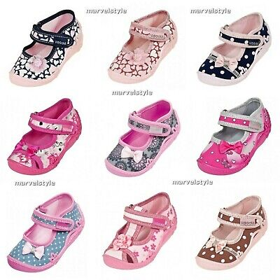 Baby Girls Canvas Shoes Nursery Slippers -Sandals Uk 3-9 / Eu 20-27 Breathable