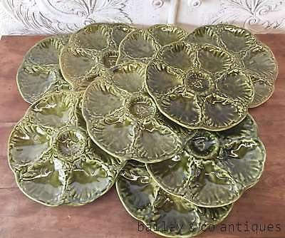 French Vintage Oyster Plates Rare Set of NINE Gien Olive Green - OF594