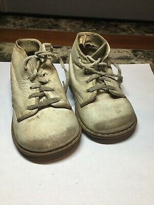 Vintage Antique White Leather Baby Shoes Hard Soles