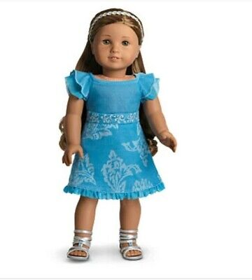 AMERICAN GIRL DOLL KANANI'S BLUE PARTY OUTFIT DRESS SILVER SANDALS New in Box