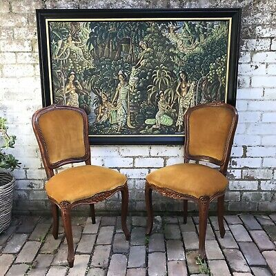 Pair Of Vintage Antique Baroque Style Boudoir Chairs
