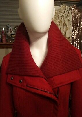 1014ec24fce66 Super Versatile Red Wool Wrap Pea Trench Coat By Steve Madden Small  EXCELLENT!