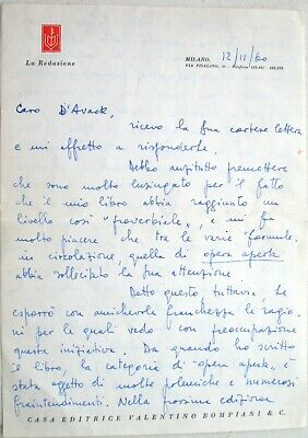 Umberto ECO AUTOGRAPHED LETTER SIGNED (ALS) 1960