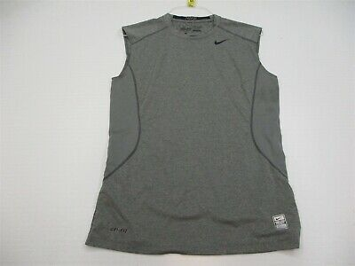 08ebb8162e353 NIKE Tank Top Men s Size M Athletic PRO COMBAT DRI-FIT Sleeveless Gray  Fitted