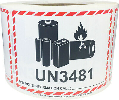 Lithium Battery UN3481 Shipping Labels, 3.25 x 4.25 Inches, 500 Labels on a Roll