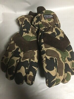 666122ca2b6dd Vintage Old School Brown Camo Insulated Hunting Glomitts Gloves Mens XL