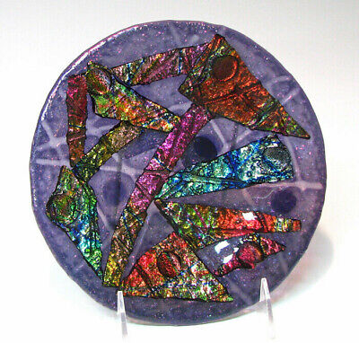 """Handmade Fused Glass 8"""" Round Plate PURPLE FUNKY DICHROIC - TRUNK SALE HALF OFF"""