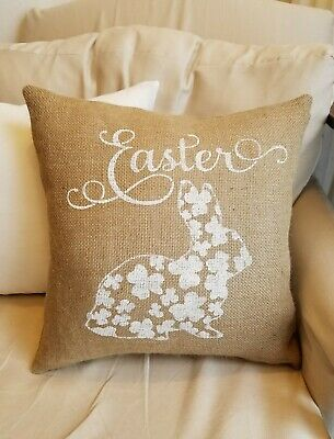 Natural White Fl Easter Bunny Burlap Pillow Cover Various Sizes