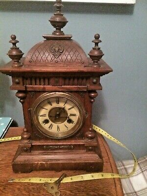 "Vintage Mantle Clock A Star With The Letter ""J"" Within It. 15 And A 1/2 High"