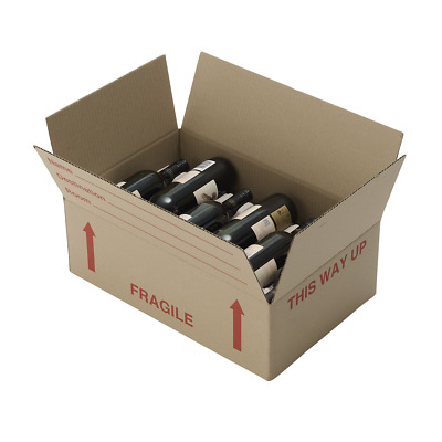10 Wine cardboard Boxes Mailing Shipping Postal Box Lay Flat Wine WITH INSERTS