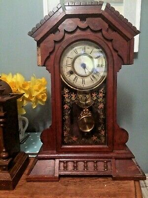 "Vintage Mantle Clock For Repair , Refurbish. Parts Etc. No Key 21 & A 1/4"" High"