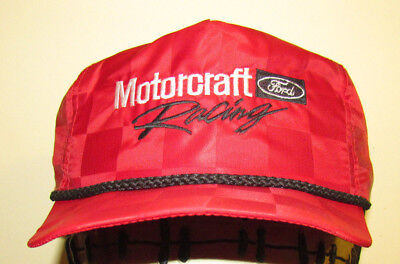 48dcbb45cc2 Vintage MOTORCRAFT FORD RACING PARTS Trucker USA SnapBack Hat Checkered  OFFICIAL