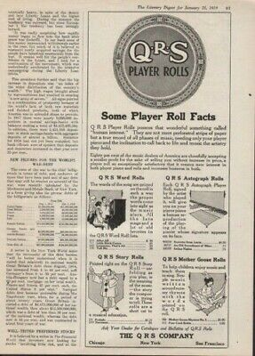 1919 Q R S Player Roll Music Piano Entertain Story Ad7935