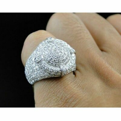 Round Ring Iced Out Stones Micro Pave Chunky Sparkling Bling Hip Hop Silver Tone