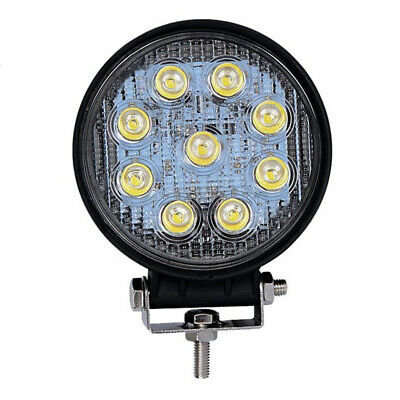2X(27W LED Work Light Round Truck Lamp Camping Boat 12V 24V 6000K FLOOD La M7B5)