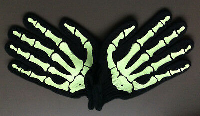 SKELETON GLOVES Glow In The Dark Light Green Bones Print Halloween Horror NEW