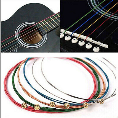 One Set 6pcs Rainbow Colorful Color Strings For Acoustic Guitar Hot Accessory.
