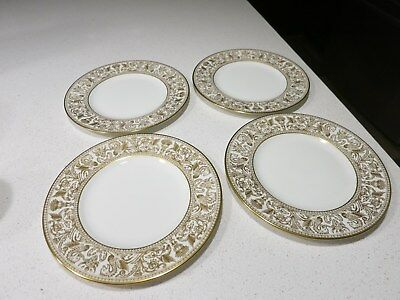 Wedgwood Florentine Gold Lot Of 4 Luncheon Plates