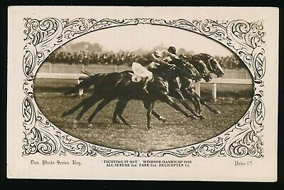1923 Windsor Hcp Horse racing Postcard Helicopter Don Photo Card Series