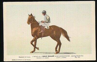 Horse racing Postcard Leslie Wallace J Munro Racehorse Sporting Gazette Company
