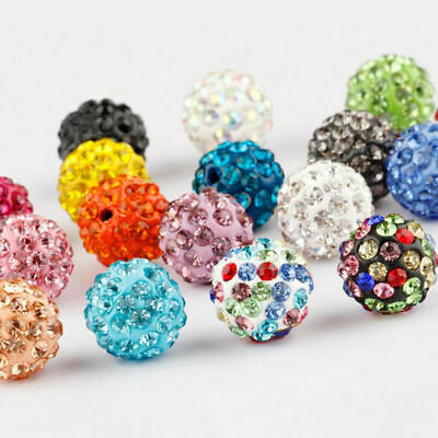 20/40PCS Czech Crystal Rhinestones Pave Clay Round Disco Ball Spacer Bead 6-12MM