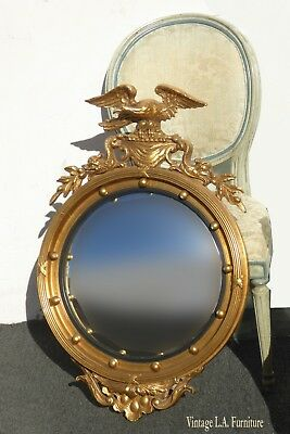 Vintage Federal Eagle Convex Bullseye Gold Wall Mantle Mirror 13 Colonies